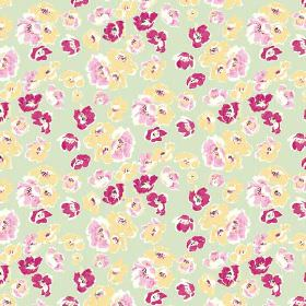 Coco (Linen Union) - 3 - Pale green linen fabric covered in rough flowers of yellow, light pink and dark pink