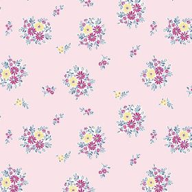 Elsie (Cotton) - 1 - Light pink cotton fabric repeatedly printed with bunches of yellow and dark pink flowers
