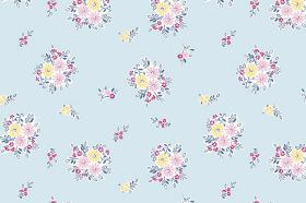 Elsie (Linen Union) - 2 - Pale pink and yellow bunches of flowers printed repeatedly over fabric made from pale blue linen