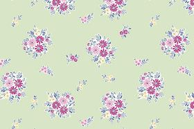 Elsie (Cotton) - 3 - Cotton fabric in light green, patterned with a scattered floral design of bunches of dark and light pink flowers