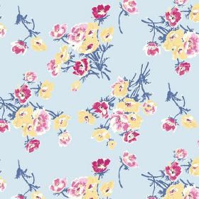 Sophie (Linen Union) - 2 - Yellow, dark pink and light pink flowers with blue stems, printed on a light blue linen fabric background