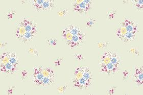 Elsie (Linen Union) - 4 - A repeated floral pattern in light blue, yellow, grey and pink, on a background of very pale green linen