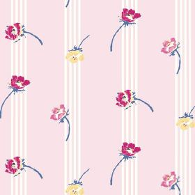 Flora (Cotton) - 1 - Striped cotton fabric in white and pale pink, sprinkled with individual flowers in dark pink, rose pink and yellow