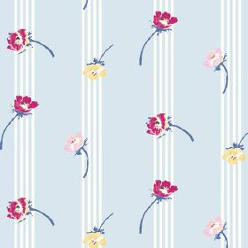 Flora (Linen Union) - 2 - Fabric made from light blue and white striped linen, covered in a floral design in dark pink, rose pink and yellow