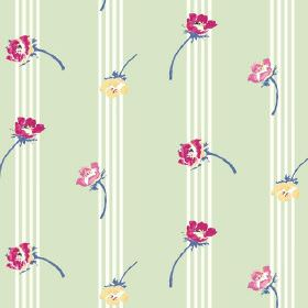Flora (Linen Union) - 3 - Floral print fabric in dark pink, yellow and light pink, over a linen background striped with light green and whit