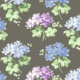Charlotte (Cotton) - 1 - Beautiful light purple and baby blue floral pattern on cotton fabric