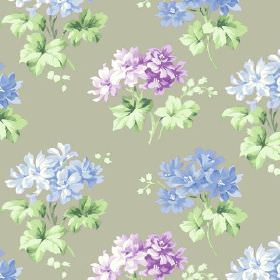 Charlotte (Cotton) - 2 - Cotton fabric with purple and light blue flowers on light olive backdrop