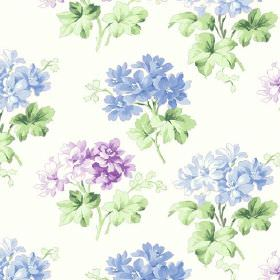 Charlotte (Cotton) - 3 - Cotton fabric featuring flowers in baby blue and purple color on light background
