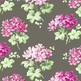 Charlotte (Cotton) - 4 - Flint-colored fabric with light pink and cerise pink flowers made out of cotton