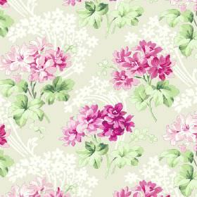 Charlotte (Cotton) - 5 - Patterned light background with rosy flowers on cotton fabric