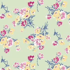Sophie (Cotton) - 3 - Blue-stemmed light pink, dark pink and yellow flowers arranged in bunches over linen fabric in a light green colour