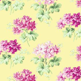 Charlotte (Cotton) - 6 - Floral pattern on bright lemon-chiffon cotton fabric
