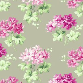 Charlotte (Cotton) - 7 - Beryl green cotton fabric decorated with pink and vivid purple flowers