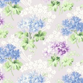 Charlotte (Cotton) - 9 - Light purple and grayish cotton fabric with purple and light steel blue flowers