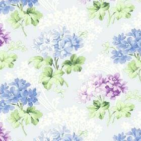 Charlotte (Cotton) - 10 - Azure cotton fabric dominated with purple and blue floral pattern