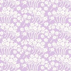 Charlotte Flower (Linen Union) - 1 - Bunches of simple white flowers with curving stems printed on fabric made from pink-purple coloured lin