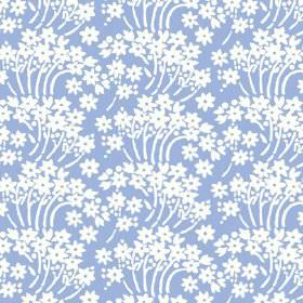 Charlotte Flower (Linen Union) - 2 - Groups of simple white flowers and stems repeatedly printed over cobalt blue coloured linen fabric