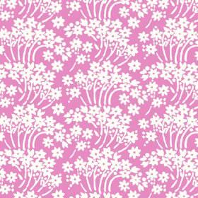 Charlotte Flower (Linen Union) - 3 - Bright pink linen fabric with a repeated pattern of simple white flowers and curving white stems