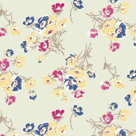 Sophie (Linen Union) - 4 - Bunches of blue, dark pink and yellow flowers with grey-brown stems on a background made from light grey linen