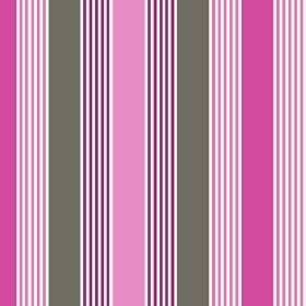 Charlotte Stripe (Cotton) - 2 - Fabric made from cotton, with narrow and wide stripes of bright pink, rose pink, white and iron grey