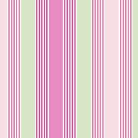 Charlotte Stripe (Cotton) - 3 - A pattern of stripes in pale green and several different shades of pink printed on white cotton fabric