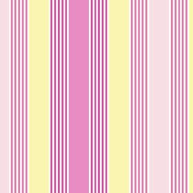 Charlotte Stripe (Cotton) - 4 - Light pink, rose pink and dark pink stripes, printed between bands of pale yellow on a white cotton fabric b