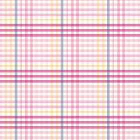 Sophie Check (Linen Union) - 1 - Fabric made from checked linen in several different shades of pink, with white, grey and yellow