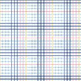 Sophie Check (Cotton) - 2 - Light blue, denim blue, yellow, pink and white checked cotton fabric