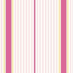 Sophie Stripe (Cotton) - 1 - A repeated design of light pink, bright pink, yellow and white stripes printed on cotton fabric