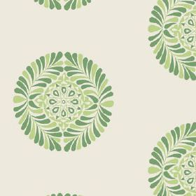Palmyra (Linen Union) - 5 - Two different shades of green making up a round leaf and geometric shape design on linen fabric in an off-white
