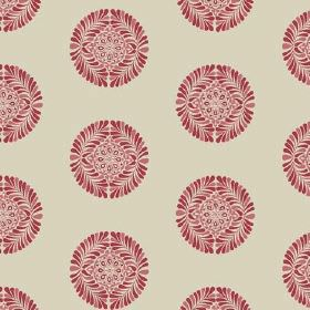 Palmyra Miniature (Cotton) - 1 - Small round red and salmon pink coloured patterned shapes printed in rows on stone coloured cotton fabric