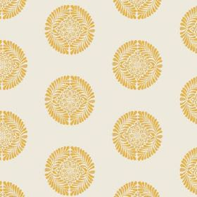 Palmyra Miniature (Cotton) - 2 - Off-white coloured cotton fabric, repeatedly printed with a small, round patterned shape in bright yellow