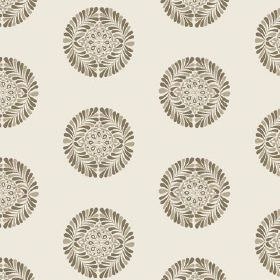 Palmyra Miniature (Cotton) - 3 - Cotton fabric in off-white, with small round shapes which are patterned in different shades of grey