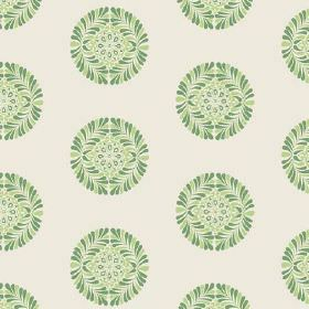Palmyra Miniature (Cotton) - 5 - Small patterned green shapes which are circular, printed as a repeated pattern over fabric made from off-wh