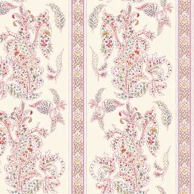 Simla (Linen Union) - 1 - Pastel coloured dots making up a pattern and stripes on fabric made from white linen