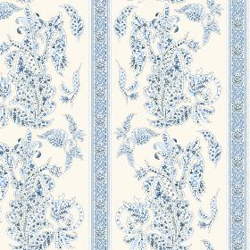 Simla (Linen Union) - 2 - Blue and white dotted, patterned, striped linen fabric