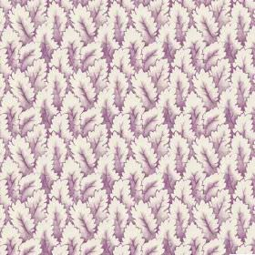 Arwen (Linen Union) - 2 - Linen fabric printed with a design of shaded leaves in purple and white
