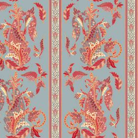 Simla (Linen Union) - 5 - Patterns and stripes in red, orange, salmon pink and cream, on a background of dusky blue linen fabric