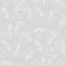 Gamma (Cotton) - 1 - Light grey cotton fabric patterned with dotted white fan shapes