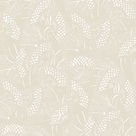 Gamma (Linen Union) - 2 - Dotted shapes resembling white fans printed on a background of pale grey-brown linen fabric