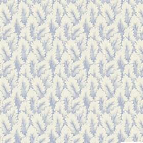 Arwen (Linen Union) - 3 - Leaves in very pale blue and white printed to cover fabric made from linen