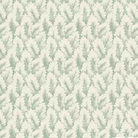 Arwen (Linen Union) - 4 - Swatch of fabric made from shaded green and white leaf print linen