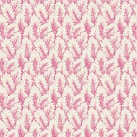 Arwen (Linen Union) - 5 - Small shaded pink and white leaves printed on linen fabric