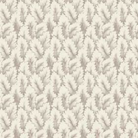 Arwen (Linen Union) - 6 - Fabric in linen, with a leaf print shaded in light grey and chalk colours