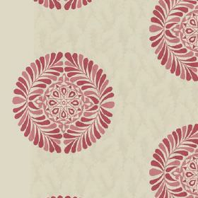 Palmyra (Cotton) - 1 - Circular leaf and geometric patterns in red and salmon pink on a green-grey cotton fabric background