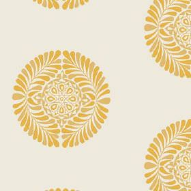 Palmyra (Linen Union) - 2 - A yellow design of leaves and geometric shapes which is circular, printed repeatedly on off-white linen fabric
