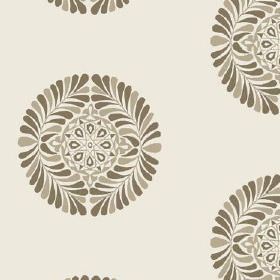 Palmyra (Linen Union) - 3 - Linen fabric printed with a circular design of leaves and geometric shapes, all in different shades of grey