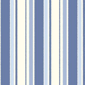 Aix An Provence (Cotton) - 1 - Cotton fabric printed with stripes with uneven edges in three different shades of blue and white