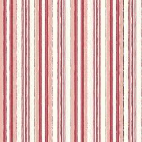 Baden (Linen Union) - 2 - Linen fabric in white, printed with rough, vertical stripes in red, salmon pink and peach colours