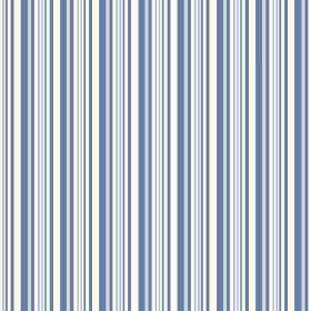 Buxton (Linen Union) - 1 - Striped linen fabric featuring narrow vertical bands in white and different shades of blue